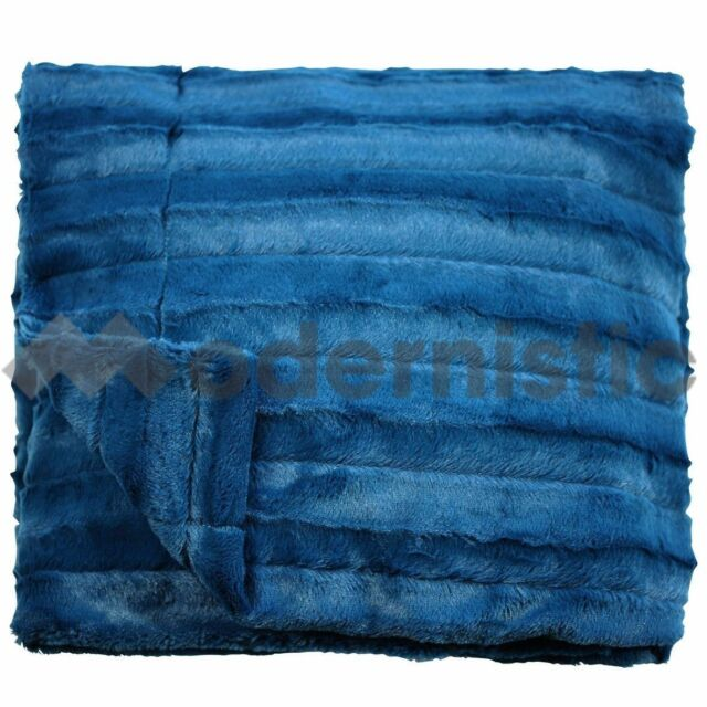 [M] Channel Plush Designer Throw Blanket Rug Premium Ultra Soft Plush Teal