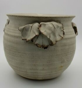 1970s-Signed-Studio-Pottery-Plant-Pot-With-Applied-Leaf-Decoration