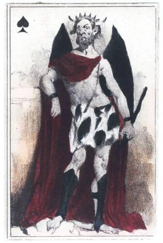 D/'impression A5-vintage français carte à jouer photo art le diable ace of spades