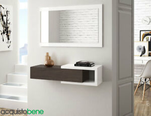 Dettagli su Mobile ingresso sospeso Design Moderno con specchio e cassetto  Wengè/Bianco