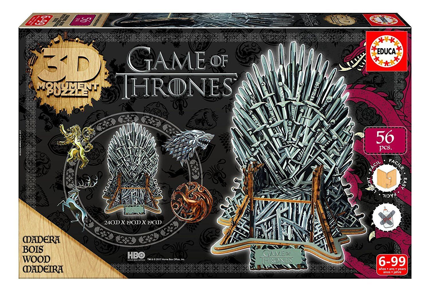 Educa 3D 17207 -Puzzle wood the throne game of Thrones 56 pieces