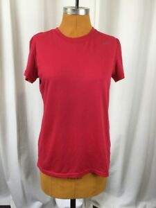 Nike-Womens-Top-Active-Short-Sleeve-Pink-Red-Dri-Fit-Legend-405712-Size-M