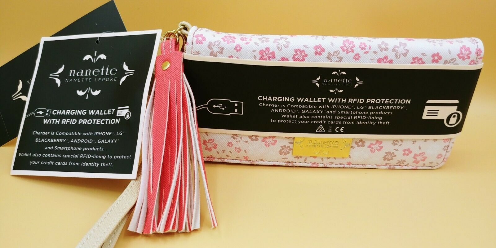 Nanette Lepore Charging Wallet Clutch RFID Protection Power Bank iPhone Android