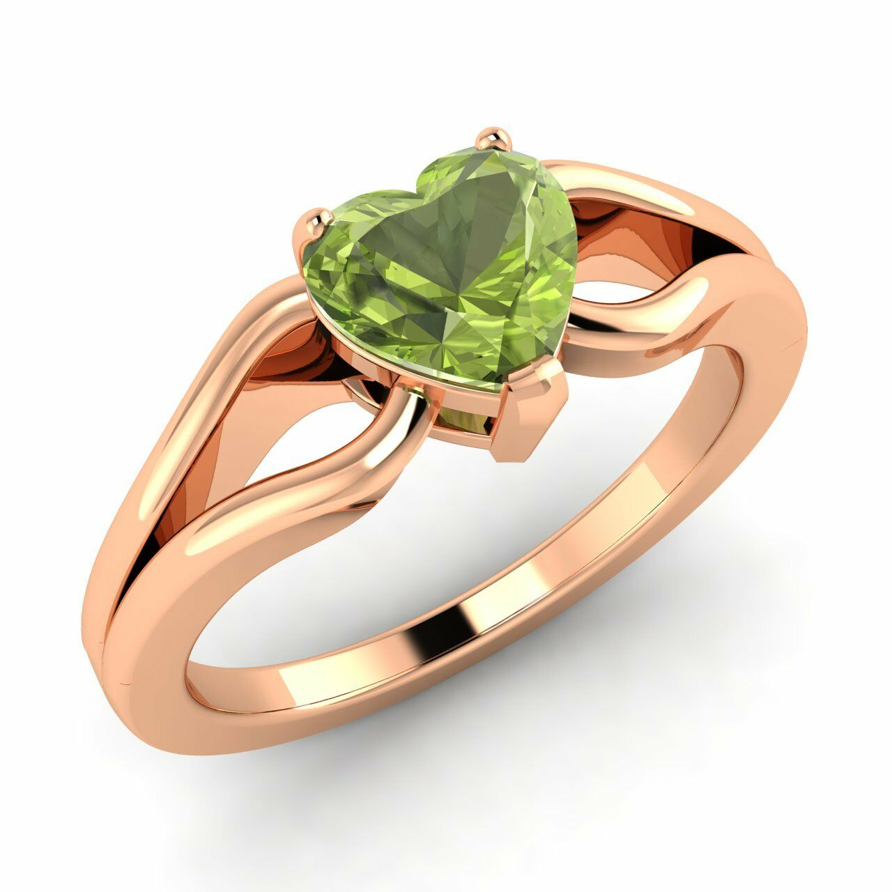 Certified 0.86 Ct Natural Peridot Solitaire Engagement Ring In pink gold Sizable