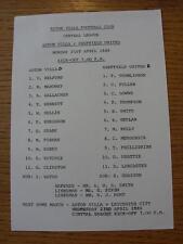 21/04/1986 Aston Villa Reserves v Sheffield United Reserves  (Single Sheet, Scor