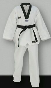 TAE KWAN DO MARTIAL ARTS WHITE 8 oz WEIGHT UNIFORM WITH WHITE BELT