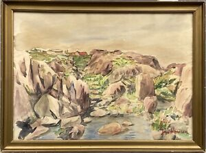 Rocky Coastal Landscape Jan Hansen 35 X 47 CM Watercolour Denmark