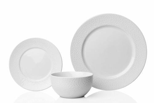 Sabichi Martillado 12 Piezas Vajilla de porcelana Vajilla En Caja Blanco