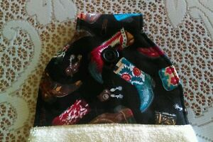 Western-theme-Kitchen-Hanging-Hand-Towel-Cowboy-Boots-Handmade-Button-Close