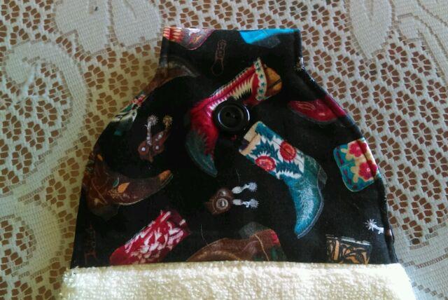 Western theme, Kitchen Hanging Hand Towel *Cowboy Boots* Handmade Button Close