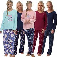 Ladies Fleece Long Sleeve Top Print Pyjamas Sets Nightwear Sizes 8-18 Pjs