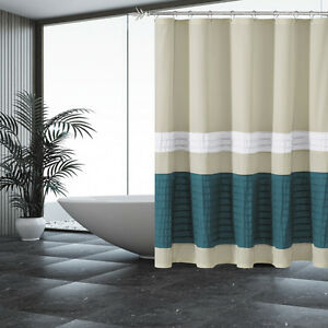 Fabric Shower Curtain Beige With Pleated Blue And White Pintuck Stripes
