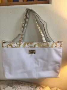 best price outlet sale wide varieties Details about Versace Parfums White Gold Canvas Tote Bag w/ Detachable  Shoulder Strap Handbag