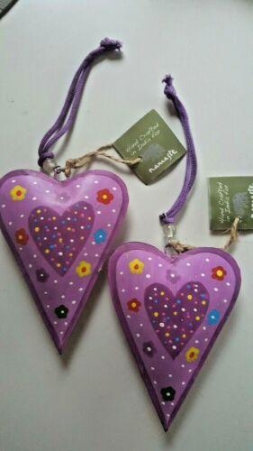 NAMASTE FAIR TRADE hand painted heart ornament decoration heart 13x10cm 2 purple