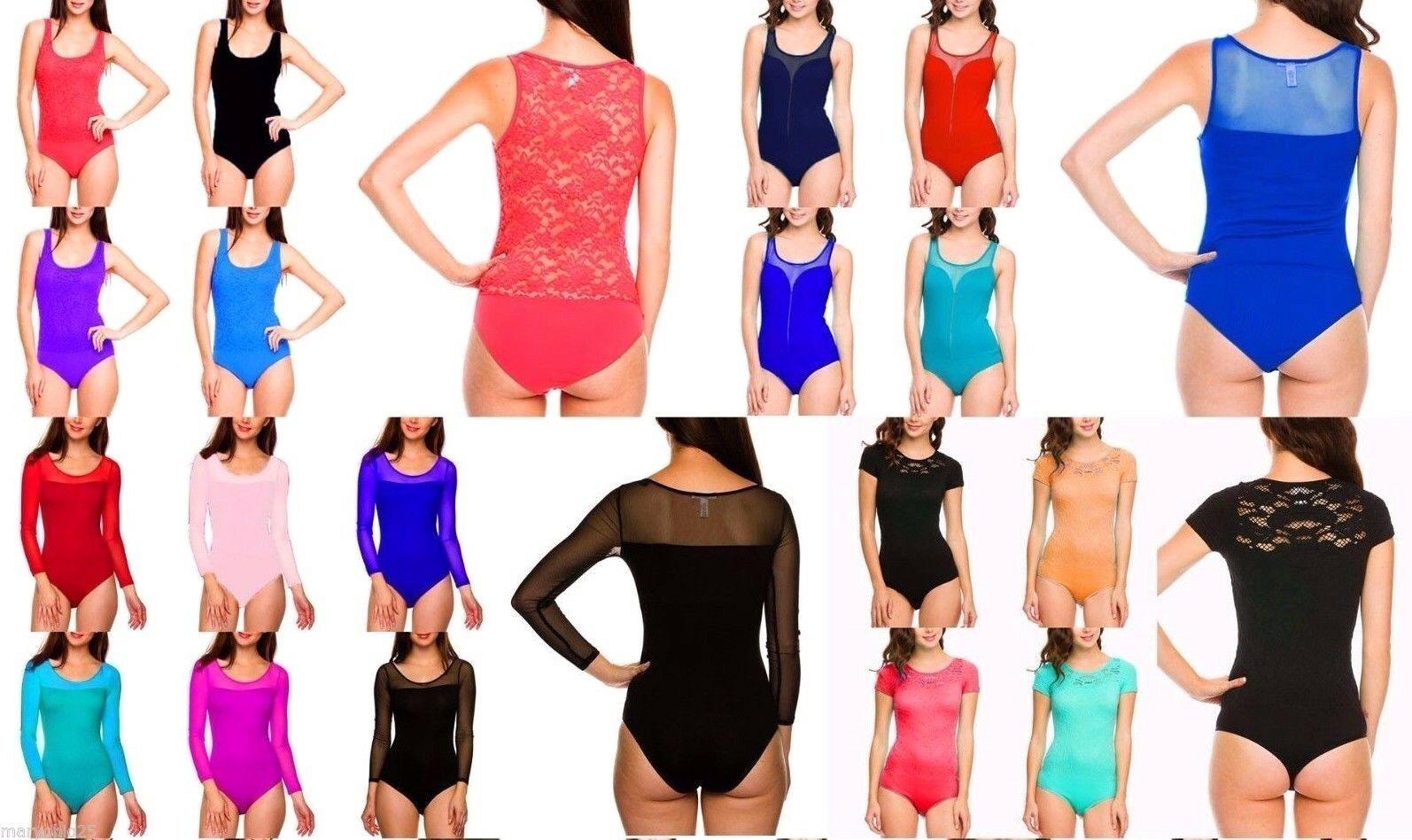 NEW Lot 40 Pcs Sexy Body-suit Lace Bodycon Leotard Fitted Tops OS S M L