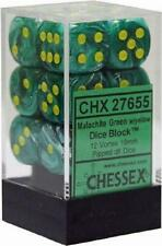 Chessex Dice d6 Set 16mm Vortex Malachite Green/ Yellow 6 Sided Die 12 CHX 27655