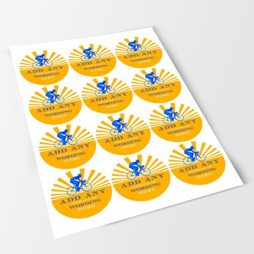 Yellow Bicycle Sticker Labels for Party Bag Sweet Cones