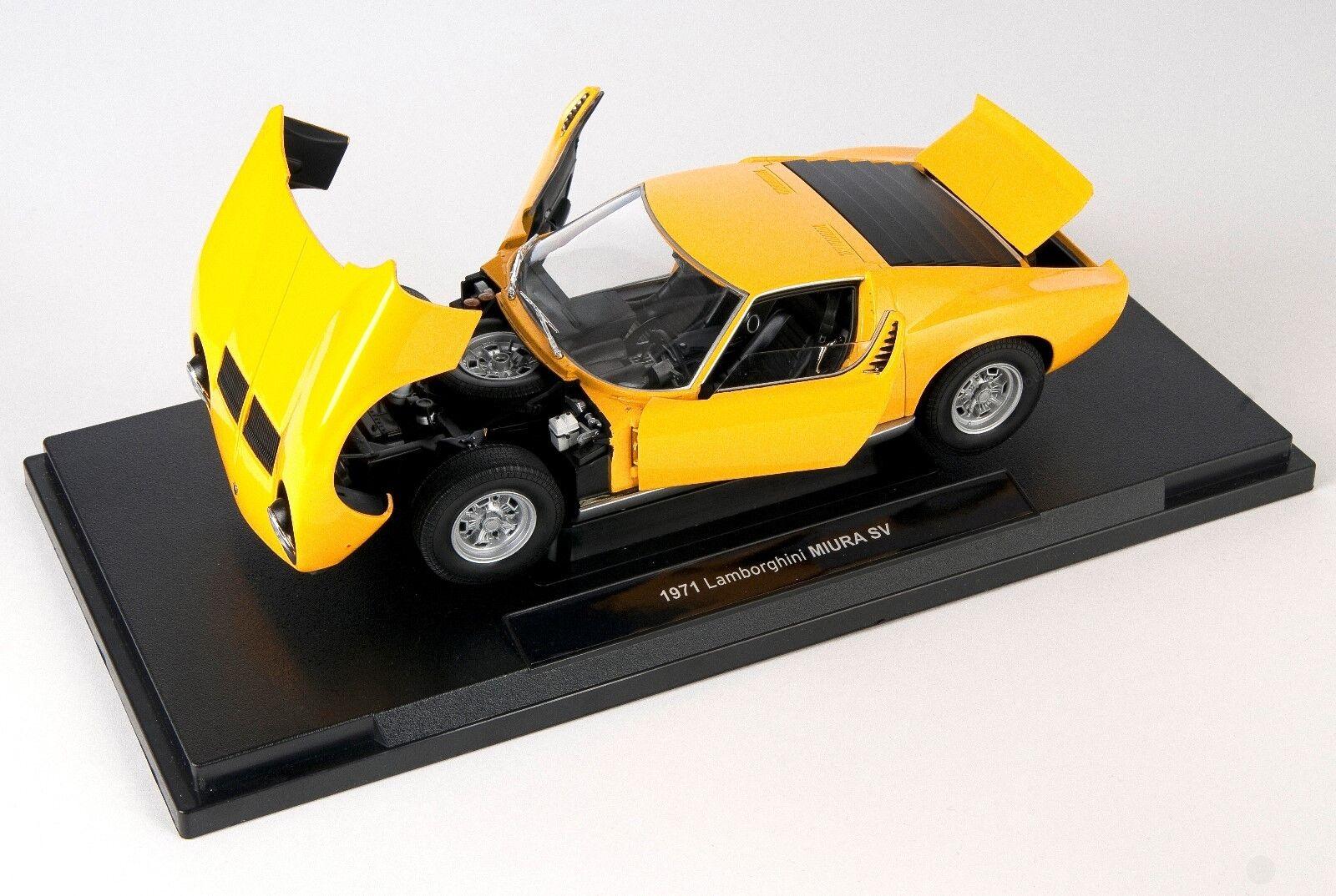 Livraison rapide Lamborghini Miura SV 1971 Jaune Welly Modèle Auto 1 18 NOUVEAU & NEUF dans sa boîte