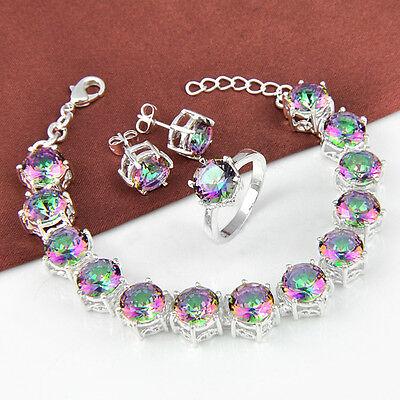 Wholesale 3pcs 1 Lot Rainbow Mystic Topaz Gems Silver Bracelet & Ring & Earrings