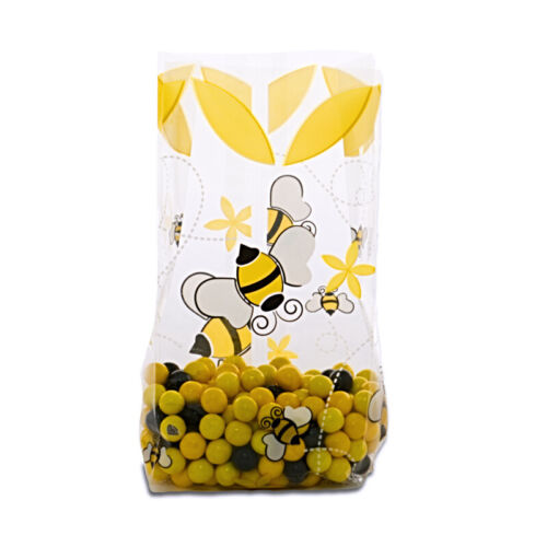 12 Small Bumble Bee Print Cellophane Bags with Twist Ties Bee Candy Bags