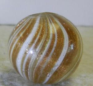 #12243m Large .79 Inches German Handmade White Onionskin Lutz Marble Heavy Lutz