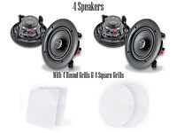 Quantity 4 Pyle Pdic66 6.5 In-wall/in-ceiling Speakers 200w 2-way Flush Mount on sale
