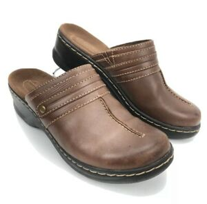 Women-039-s-Clarks-Bendables-Brown-Leather-Slip-on-Loafer-Clogs-Shoes-Size-6-M