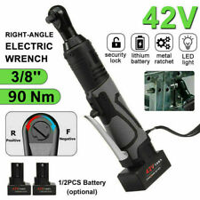 38 42v Electric Cordless Ratchet Right Angle Led Wrench Impact With 2 Battery