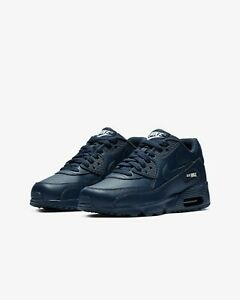 b25ef737961 833412-412 Big Kids  Nike Air Max 90 Leather (GS) Mid Navy White ...