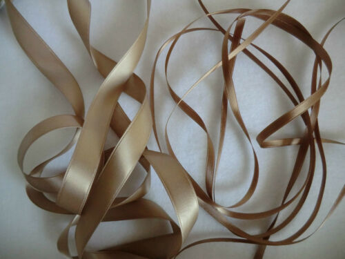 CREAM 2 Mtrs  DOUBLE SIDED SATIN 7mm  RIBBON BROWN,GOLD BEIGE COFFEE IVORY