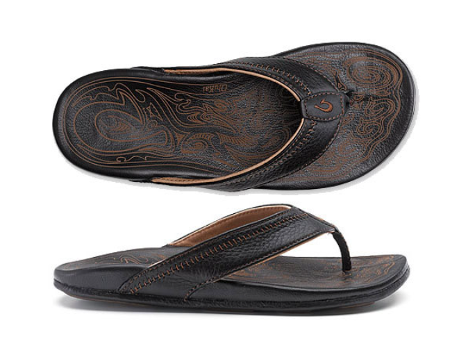 Olukai Hiapo Black Black Comfort Flip Flop Men's sizes 8-15 NIB