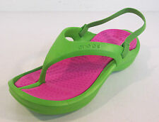 Girls Crocs Lime/Fuchsia syntehtic flip flop size C10-C11 Kids Athens
