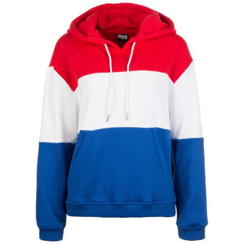 blau NEU Urban Classics Oversize 3-Tone Kapuzenpullover Damen rot weiß