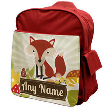 RED Personalised Fox Woodland Animals Rucksack Backpack 7