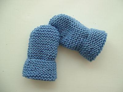 Children's Hand Knitted Guanti, Blu Medio, Lana Acrilica, 2-4 Anni Nuovo-mostra Il Titolo Originale