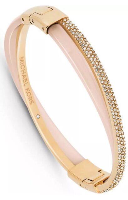 c629a9d8dd2cf Michael Kors Mkj5181 Crystals Gold Tone Blush Pink Bangle Bracelet