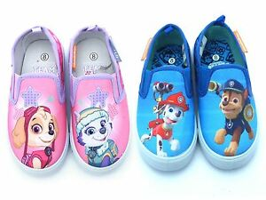Boys-Girls-Official-Paw-Patrol-Slip-On-Kids-Canvas-Pumps-Trainers-Shoes