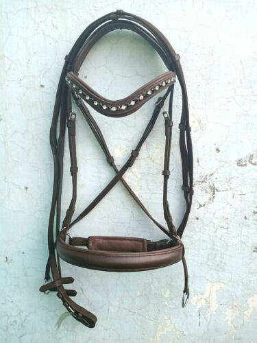 Bitless bridle Brown leather Crossover,U,BROWBAND BLACK/&WHITE Crystal