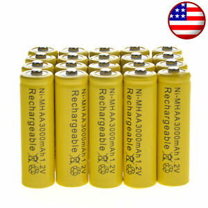 20-AA-Rechargeable-Yellow-Battery-NiMH-3000mAh-1-2v-Garden-Solar-Ni-MH-Light-LED