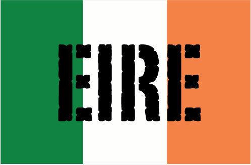 IRELAND IRISH FLAG WITH EIRE WORDING VINYL STICKER Flag Themed 10cm x 6cm