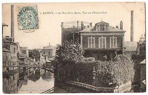 CPA-14-LISIEUX-Calvados-3-Le-Pont-de-la-Barre-Vue-sur-l-039-Usine-a-Gaz