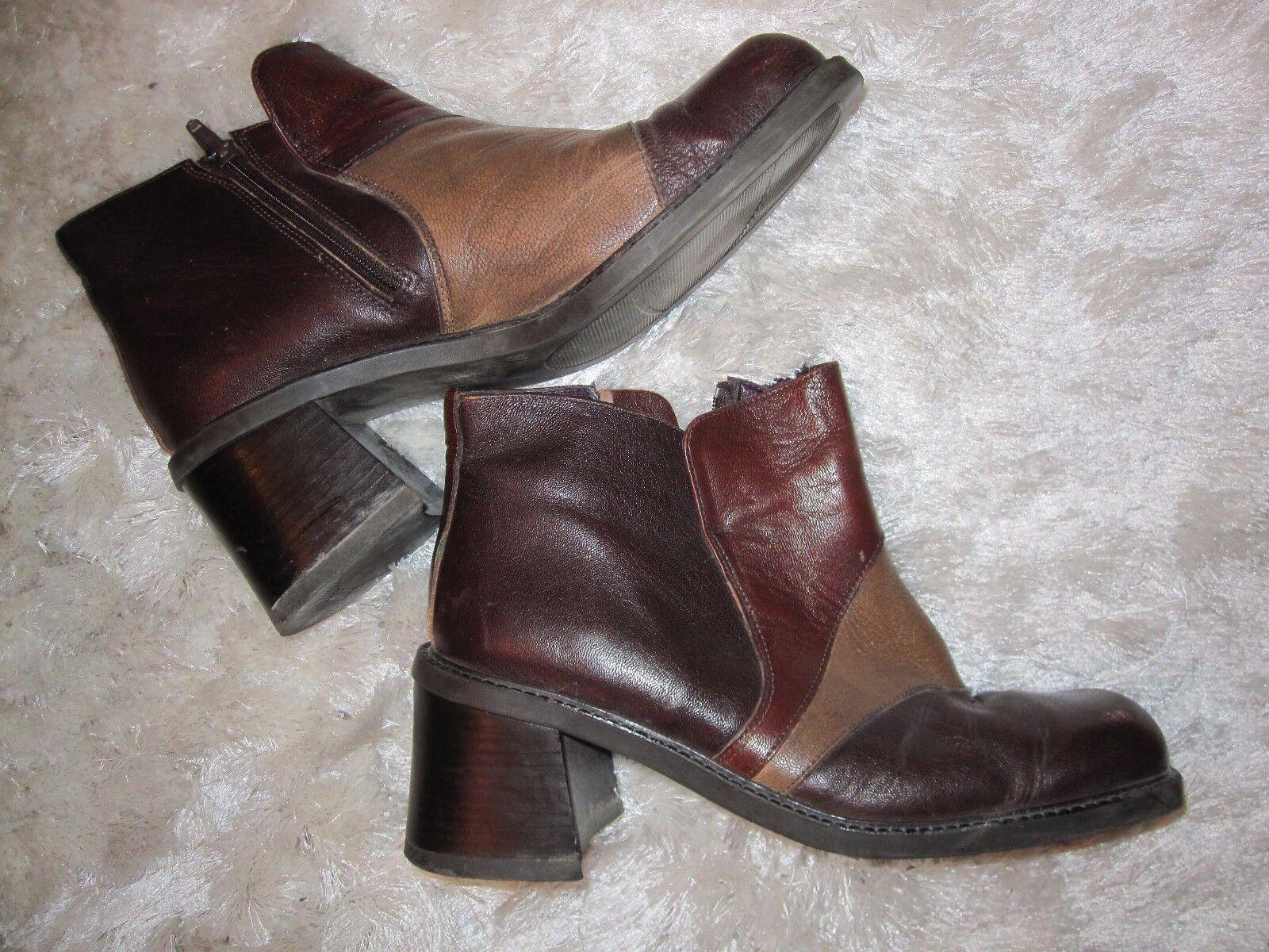 iTALIENISCHE iTALY Stiefel Schuhe braun, Leder Gr.38,super schön 70er Jahre
