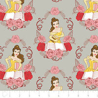 Disney Beauty & The Beast Belle In Grey 100% Cotton Fabric By The Yard