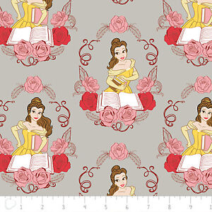 Disney-Beauty-amp-the-Beast-Belle-in-Grey-100-Cotton-fabric-by-the-yard