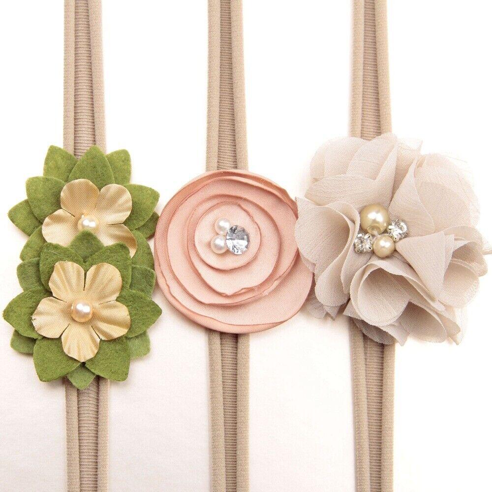 3Pcs/lot Newborn Girl Baby Headband Ribbon Elastic Headdress Kids Hair Band Bow 6