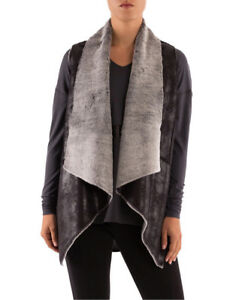 7a3bac4dfdacc5 Image is loading NEW-PINGPONG-Sleeveless-Shearling-Waterfall-Vest-Black