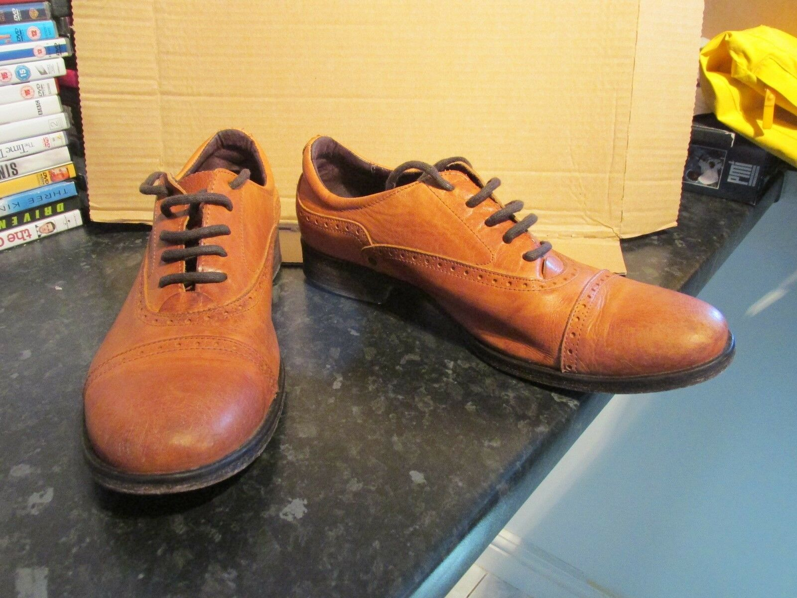 MENS DIESEL STYLE LBB BLL LEBTHER SHOES SIZE 43  BROWN VERY  NICE CONDITION