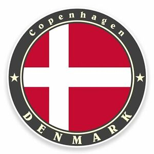 2 x Copenhagen Denmark Flag Vinyl Sticker Laptop Travel Luggage Car #6726
