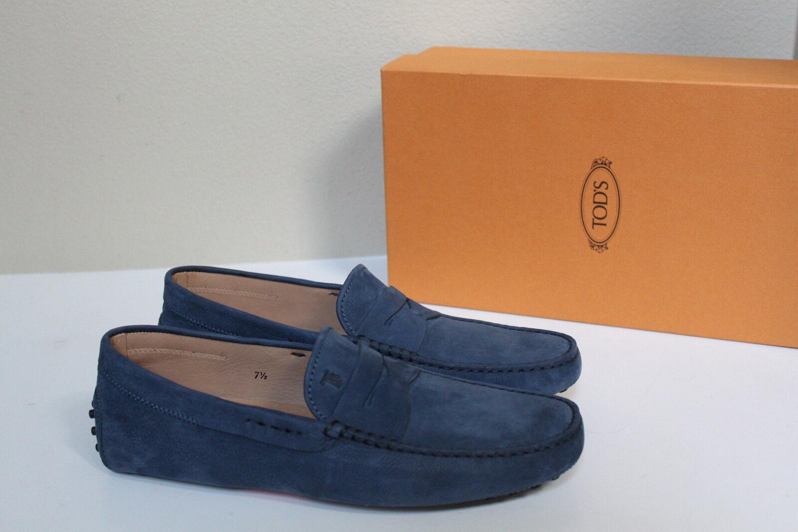 Nuevas US 7.5 TOD'S azul Suede Gommini logotipo de conducción Mocasín Zapatos de hombre
