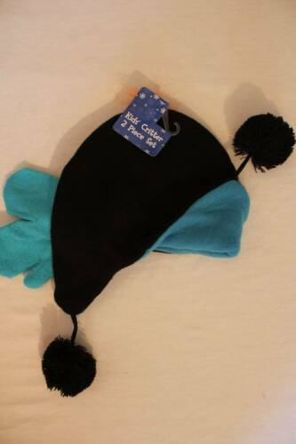 NEW Toddler Boys Trapper Critter Hat Mittens Set Black Blue Sunglasses Ear Flaps
